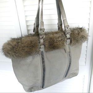 Coach Suede Argentinian Fox Trim Hand Bag/tote